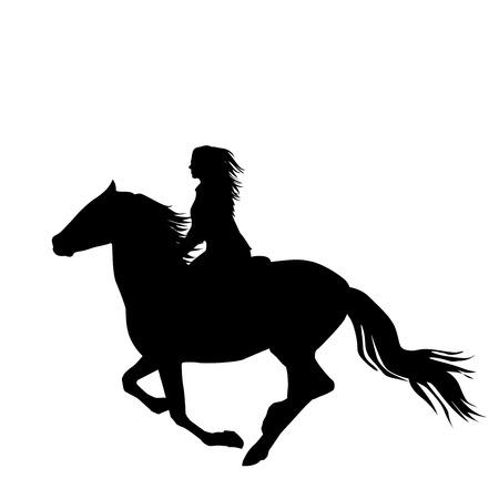 Illustrazione per Black silhouette of a woman rider a running horse - Immagini Royalty Free