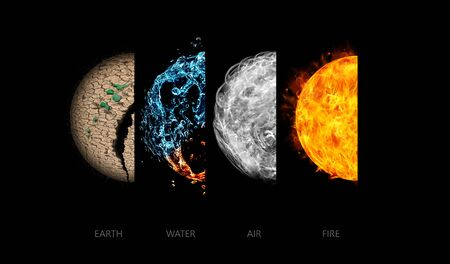 Photo for Four elements isolated on black. - Royalty Free Image