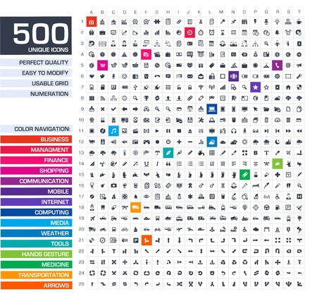 Illustration pour 500 icons set  Vector black pictograms for web, internet, mobile apps, interface design  business, finance, shopping, communication, management, computer, media, graphic tools, hands, arrows symbols  - image libre de droit