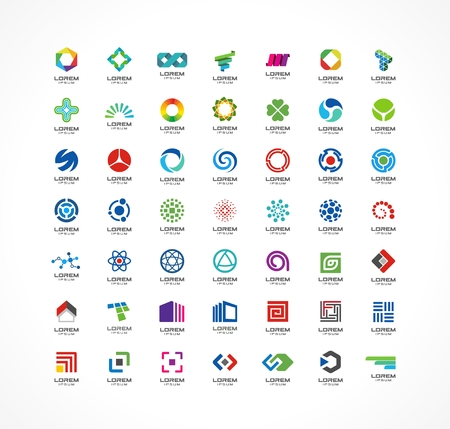 Foto de Set of icon design elements  Abstract ideas for business company  Finance, communication, eco, technology, science and medical concepts  Pictograms for corporate identity template  Vector  - Imagen libre de derechos