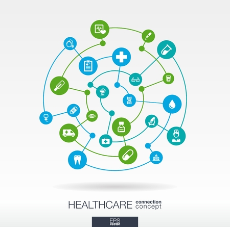 Ilustración de Healthcare connection concept. Abstract background with integrated circles and icons for medical, health, care, medicine, network, social media and global concepts. Vector infographic illustration.  - Imagen libre de derechos