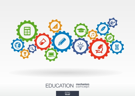 Photo pour Education mechanism concept. Abstract background with connected gears and icons for elearning, knowledge, learn, analytics, network, social media and global concepts. Vector infographic illustration - image libre de droit