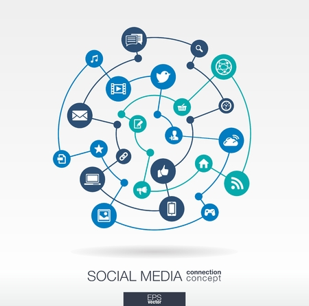 Illustration for Social media connection concept. Abstract background with integrated circles and icons for digital, internet, network, connect, communicate, technology, global concepts. Vector infograp illustration - Royalty Free Image