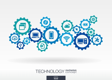 Ilustración de Technology mechanism concept. Abstract background with integrated gears and icons for digital, internet, network, connect, communicate, social media and global concepts. Vector infograph illustration - Imagen libre de derechos