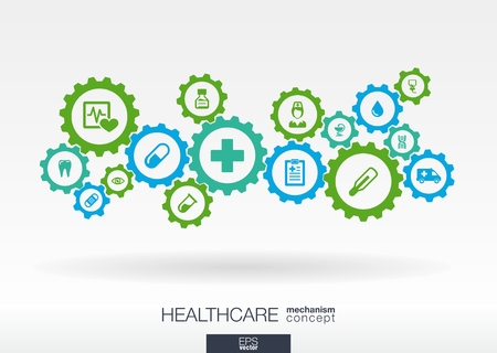 Illustration pour Healthcare mechanism concept. Abstract background with connected gears and icons for medical, health, care, medicine, network, social media and global concepts. Vector infographic illustration.  - image libre de droit