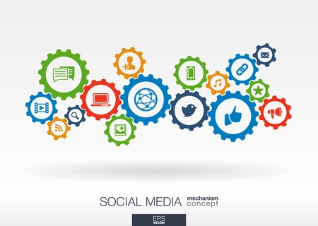 Illustration pour Social media mechanism concept. Abstract background with integrated gears and icons for digital, internet, network, connect, communicate, technology, global concepts. Vector infographic illustration. - image libre de droit
