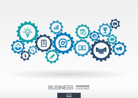 Foto de Business mechanism concept. Abstract background with connected gears and icons for strategy, service, analytics, research, seo, digital marketing, communicate concepts. Vector infographic illustration - Imagen libre de derechos