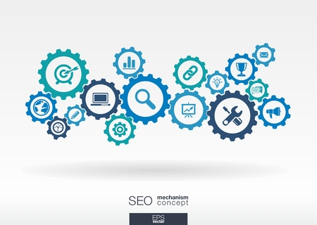 Ilustración de SEO mechanism concept. Abstract background with integrated gears and icons for digital, internet, network, connect, analytics, social media and global concepts. Vector infographic illustration.  - Imagen libre de derechos