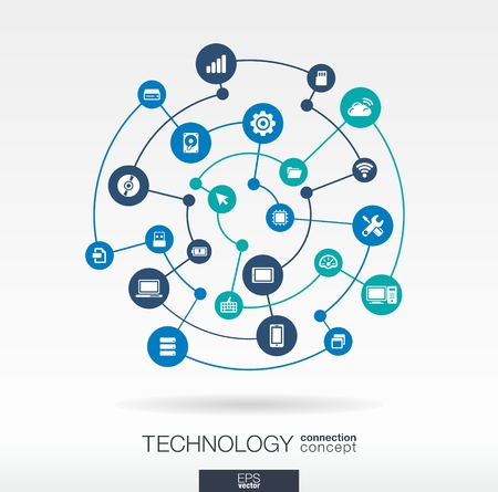 Ilustración de Technology connection concept. Abstract background with integrated circles and icons for digital, internet, network, connect, communicate, social media, global concepts. Vector infograph illustration - Imagen libre de derechos
