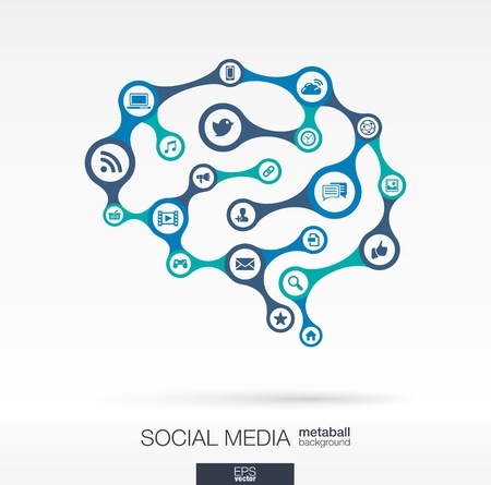 Illustration pour Abstract social media background, connected metaball and integrated circles. Brain concept with network, computer, technology, marketing, digital, link icon. Vector interactive illustration - image libre de droit