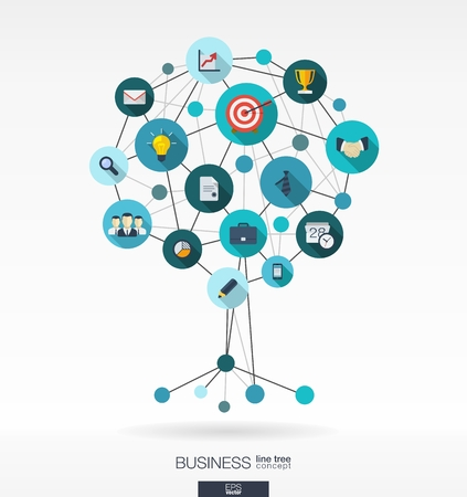 Illustration pour Abstract background with lines, connected circles and integrated flat icons. Growth tree concept for business, communication, marketing research, strategy, mission, analytics and web design. Vector interactive illustration. - image libre de droit