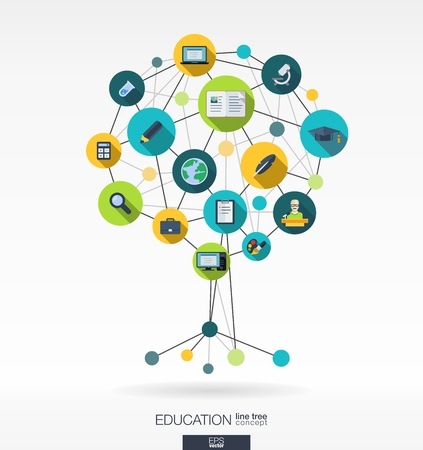 Photo pour Abstract education background with lines, connected circles and integrated flat icons. Growth tree concept with bell, school, science, calc, geography, biology, pencil and microscope icon. Vector interactive illustration. - image libre de droit
