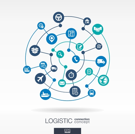 Photo for Logistic connection concept. Abstract background with integrated circles and icons for delivery, service, shipping, distribution, transport, communicate concepts. Vector interactive illustration - Royalty Free Image