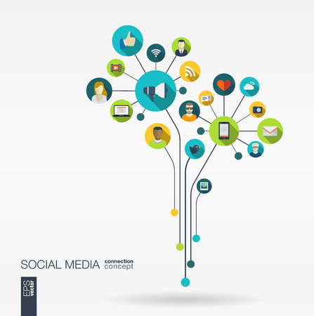 Ilustración de Abstract social media background with lines connected circles integrated flat icons. Growth flower concept with network computer technology speech bubble icon. Vector interactive illustration. - Imagen libre de derechos