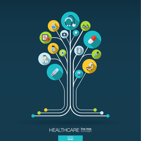 Photo pour Abstract medicine background with lines connected circles integrated flat icons. Growth tree concept with medical health healthcare thermometer and cross icon. Vector interactive illustration. - image libre de droit