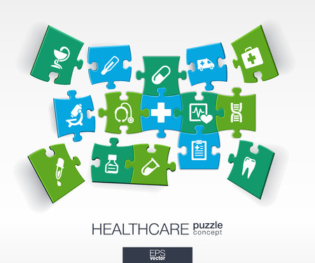 Illustration pour Abstract medicine background with connected color puzzles integrated flat icons. 3d infographic concept with medical health healthcare cross pieces in perspective. Vector interactive illustration. - image libre de droit
