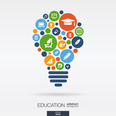 Illustration pour Color circles flat icons in a bulb shape: education school science knowledge elearning concepts. Abstract background with connected objects in integrated group of elements. Vector illustration. - image libre de droit