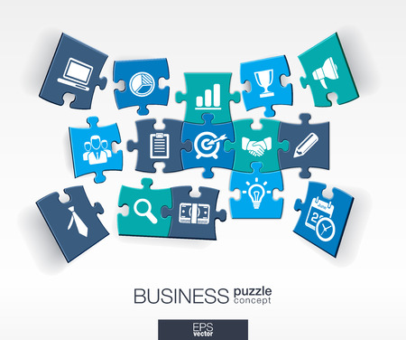 Ilustración de Abstract business background connected color puzzles integrated flat icons. 3d infographic concept with marketing research strategy mission analytics pieces in perspective. Vector illustration. - Imagen libre de derechos