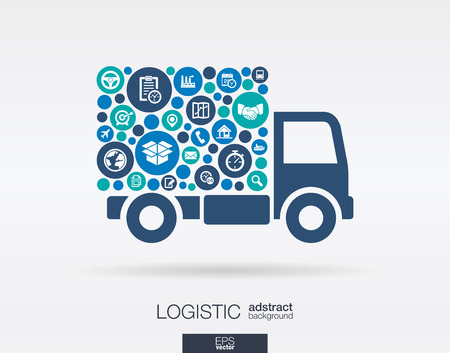 Illustration pour Color circles flat icons in a truck shape: distribution delivery service shipping logistic transport market concepts. Abstract background with connected objects. Vector illustration. - image libre de droit