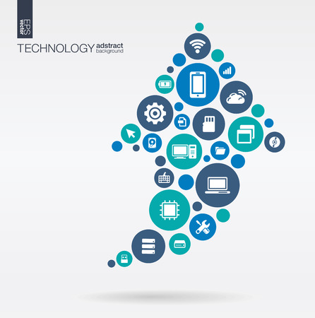 Foto de Color circles flat icons in arrow up shape: technology cloud computing digital concept. Abstract background with connected objects in integrated group of elements. Vector interactive illustration - Imagen libre de derechos