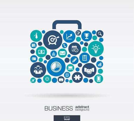 Ilustración de Color circles flat icons in a case shape: business marketing research strategy mission analytics concepts. Abstract background with connected objects. Vector interactive illustration. - Imagen libre de derechos