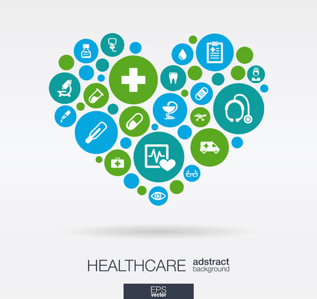 Photo pour Color circles with flat icons in a heart shape: medicine medical health cross healthcare concepts. Abstract background with connected objects in integrated group of elements. Vector illustration. - image libre de droit