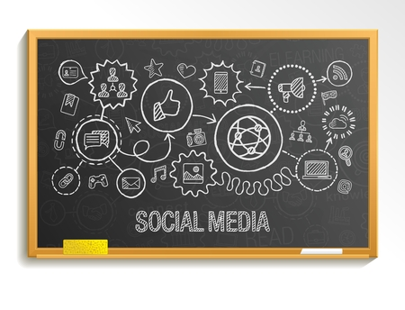 Illustration for Social media hand draw integrate icons set on school board. Vector sketch infographic illustration. Connected doodle pictogram: internet digital marketing media network global interactive concept - Royalty Free Image