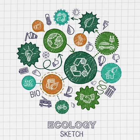 Ilustración de Ecology hand drawing integrated icons. Vector doodle connected pictogram set: sketch interaction illustration on paper: eco friendly energy environment green recycle bio and global concepts - Imagen libre de derechos