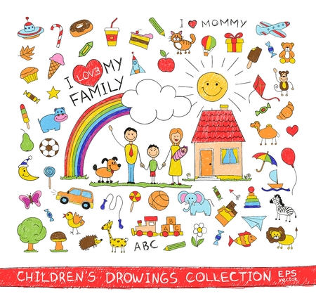 Illustration pour Child hand drawing illustration of happy family with kids near home dog sun rainbow. Cartoon sketch image of children pencil painting vector doodles set: sweets lollipop food baby toys animals. - image libre de droit