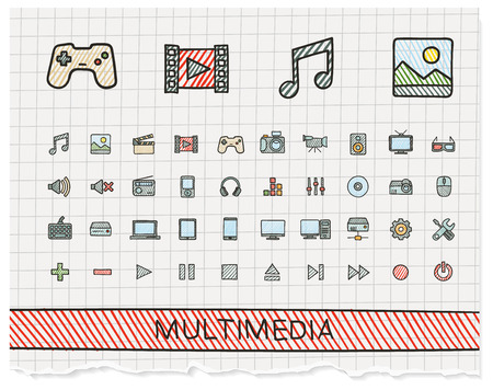 Illustration pour Media hand drawing line icons. doodle pictogram set: color pen sketch sign illustration on paper with hatch symbols: buttons, camera, tv, laptop, joystick, movie, device, tablet - image libre de droit