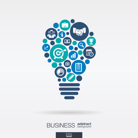 Illustrazione per Color circles, flat icons in a idea bulb shape: business, marketing research, strategy, mission, analytics concepts. - Immagini Royalty Free