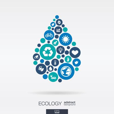Ilustración de Color circles, flat icons in a water drop shape: ecology, earth, nature, eco, environmental protection concepts - Imagen libre de derechos