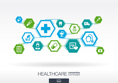 Photo pour Hexagon abstract. Medicine background with lines, polygons, and integrate flat icons. Infographic concept with medical, health, healthcare, nurse, DNA, pills connected symbols. Vector illustration. - image libre de droit