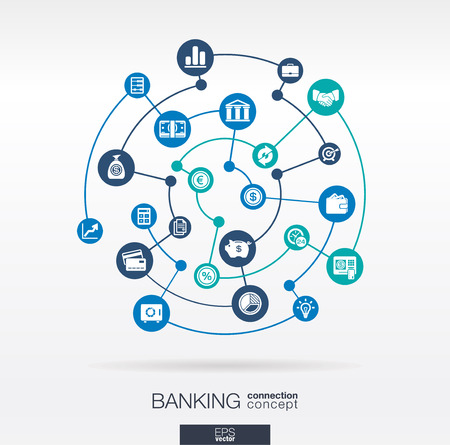 Illustration pour Banking network. Circles abstract background with lines and integrate flat icons. Connected symbols for money, card, bank, business and finance concepts. Vector interactive illustration - image libre de droit