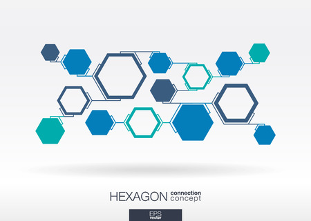 Illustration pour Abstract hexagon background with integrated polygons for Business Company, digital, interactive, network, connect, social media, technology and global concepts. - image libre de droit