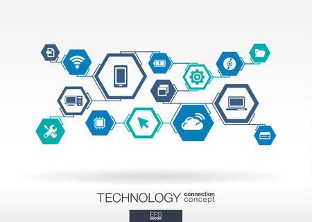 Ilustración de Technology network. Hexagon abstract background with lines, integrate flat icons. Connected symbols for digital, connect, communicate, social media and global concepts. Vector interactive illustration - Imagen libre de derechos