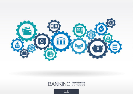 Illustration pour Banking mechanism. Abstract background with connected gears and integrated flat icons. Connected symbols for money, card, bank, business and finance concepts. Vector interactive illustration - image libre de droit