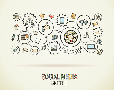 Illustration for Social media hand draw integrate icons set on paper. Colorful vector sketch infographic illustration. Connected doodle pictogram: internet, digital, marketing, network, global interactive concept - Royalty Free Image