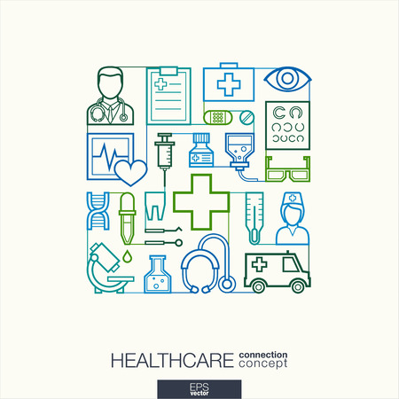Illustration pour Healthcare integrated thin line symbols. Modern linear style vector concept, with connected flat design icons. Abstract illustration for medical, health, care, medicine, network and global concepts. - image libre de droit