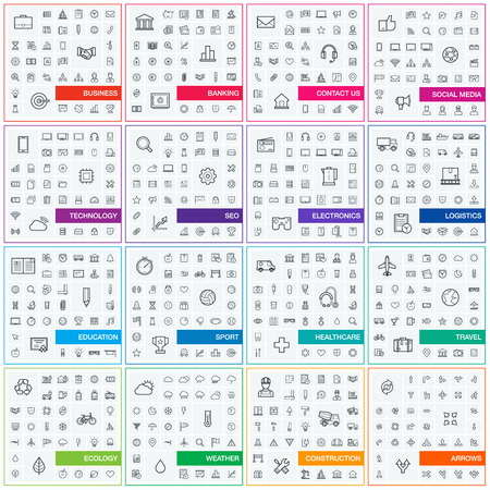 Illustration pour Vector illustration of thin line icons for business, banking, contact, social media, technology, seo, logistic, education, sport, medicine, travel, weather, construction, arrow. Linear symbols set. - image libre de droit