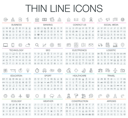 Ilustración de illustration of thin line icons for business, banking, contact, social media, technology, seo, logistic, education, sport, medicine, travel, weather, construction, arrow. Linear symbols set. - Imagen libre de derechos