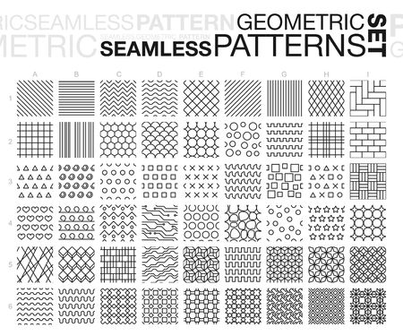 Illustrazione per Black and white geometric seamless patterns. Thin line monochrome tiling textures set. - Immagini Royalty Free