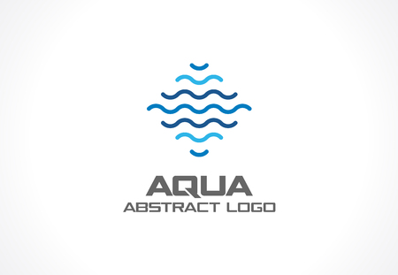 Illustration pour Abstract logo for business company. Corporate identity design element. Eco ocean, nature, swimming pool, spa, aqua swirl Logotype idea. Water wave, blue sea square concept. Colorful Vector line icon - image libre de droit