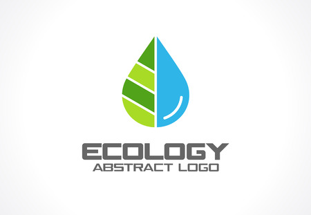 Illustration for Abstract logo for business company. Corporate identity design element. Eco nature, spa, aqua Logotype idea. Water drop and leaf, environment, natural liquid, save concept. Colorful Vector flat icon - Royalty Free Image