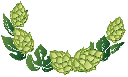 Illustration for Vector illustration decorative frame of green leaves and hop cones. - Royalty Free Image