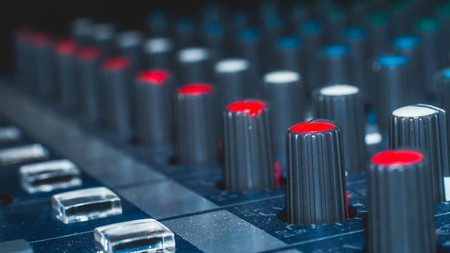 Photo for Modular synthesizer colorful buttons audio mixer, music equipment. recording studio gears, broadcasting tools, mixer, synthesizer. with shallow depth of field - Royalty Free Image
