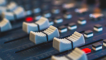 Photo for audio mixer, music equipment, recording, studio gears, broadcasting tools, mixer, synthesizer with shallow depth of field - Royalty Free Image