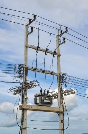 Foto de Electricity distribution transformer with cooling ribs  - Imagen libre de derechos