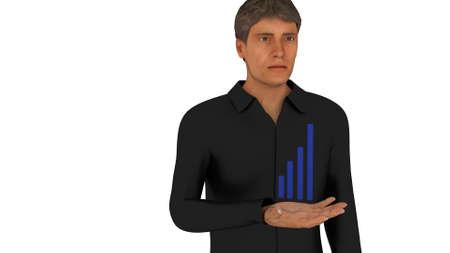 Blue bar graph in man's hand 3d render
