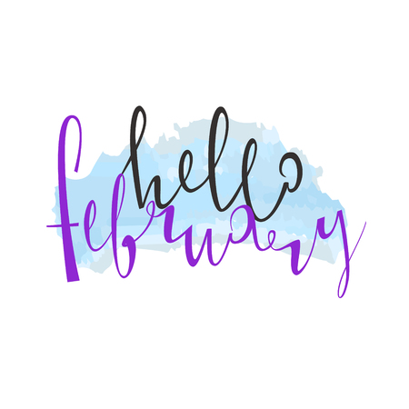 Illustration pour Hello Februaru. Cute lettering is isolated on a white background. Vector illustration. Winter. Snow. Merry Christmas. Happy new year. 2018. - image libre de droit
